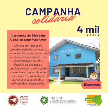 Campanha de Solidariedade – Décima Entidade Beneficiada (Associação de Educação Complementar Puro Amor)