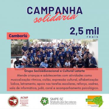 Campanha de Solidariedade – Oitava Entidade Beneficiada (Grupo Socioeducacional e Cultural Latarte)